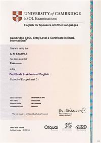 Образец сертификата Cambridge English